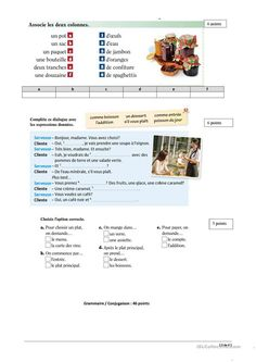 One-click print document Food In French, French Conversation, French Words, Restaurant, Teaching French, French Language, Comprehension, Education, Learning French