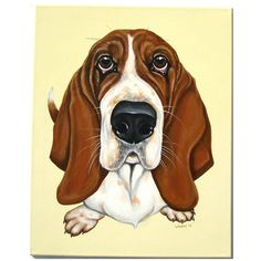 Daisy Basset Hound Painting Canvas Dog Portrait Pet by ArtbyWeeze, $350.00