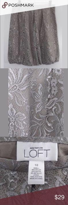 Ann Taylor LOFT Silver Lace Bubble Skirt Ann Taylor LOFT Gray/Silver Lace Overlay Bubble Skirt Measurements: Size 10 - waist 15.5 flat, hips 19.5, length 23 Excellent condition  Nylon blend  Nonsmoking home LOFT Skirts A-Line or Full