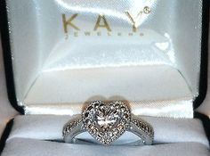 #jewelry *I Love You* Kay Jewelers Sterling Silver Heart Shaped Diamond Ring (Size 7) please retweet