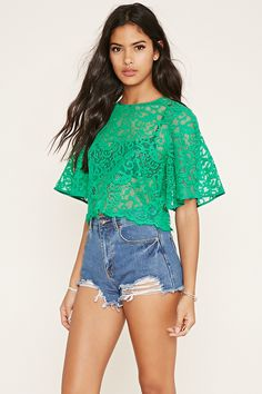 Scalloped Lace Top   Forever 21 - 2000186331