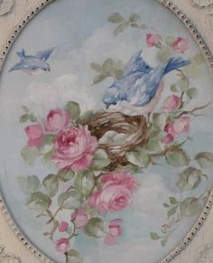 Shabby Chic Bluebird and Roses Painting in Antique Frame by Debi Coules - Debi Coules Romantic Art