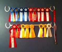 Custom made horse ribbon display rack in Crafts Horse Ribbon Display, Show Ribbon Display, Horse Show Ribbons, Ribbon Wall, Diy Ribbon, Custom Ribbon, Ribbon Crafts, Award Display, Display Ideas