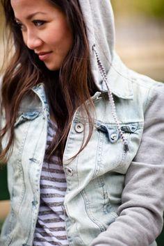 Armani exchange hoodie jean jacket and striped top