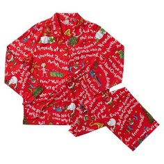Featuring playful artwork from Dr. Seuss' How the Grinch Stole Christmas, these cozy flannel pajamas add fun to winter nights at home and away at slumber parties. Made of pure cotton flannel, they're as comfy as they are fun. Grinch Stole Christmas, Christmas Pajamas, Christmas Sweaters, Christmas Time, The Grinch Movie, Pajama Day, Flannel Pajamas, Pyjamas, Pottery Barn Teen