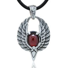 Antiqued 925 Sterling Silver Wings Gemstone Pendant Necklace For Men