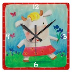 kids room cute cow wall clock  Click on photo to purchase. Check out all current coupon offers and save! http://www.zazzle.com/coupons?rf=238785193994622463&tc=pin