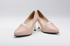 FGN Brand Office Lady Pointed Toe Honeycomb Vamp Slip On Pump Shoes F58X601K - Pink
