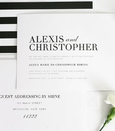 Classic black and white striped wedding invitations. We love the bold stripes look! #blackandwhite #stripes #urbanglamour