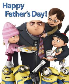 Gru and his Minions have released a new poster just in time to wish you and your readers a Happy Father's Day from Despicable Me! Being a Dad is tough! Amor Minions, Minions Despicable Me, My Minion, Minions Friends, Minion Rush, Minions Cartoon, Minion Party, Cartoon Kids, Dont Forget To Smile