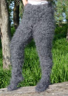 Pants fuzzy leg warmers with socks Cashmere Angora fluff от DTolik