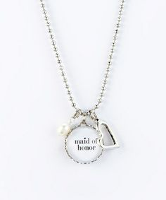 Look what I found on #zulily! Silver 'Maid Of Honor' Charm Pendant Necklace #zulilyfinds