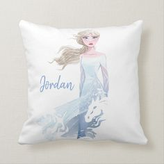 Shop Frozen Elsa Watercolor Illustration Throw Pillow created by frozen. Custom Pillows, Decorative Pillows, Frozen Bedroom, Animated Movies For Kids, Disney Frozen 2, Elsa Frozen, Kid Movies, Little Girl Rooms, Bedroom Themes