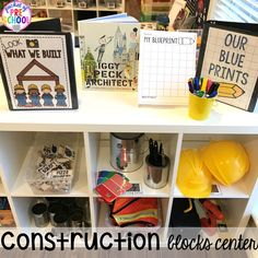 Construction themed centers and activities my preschool & pre-k kiddos will LOVE! (math, letters, sensory, fine motor, & freebies too) Block Center Preschool, Abc Preschool, Preschool Rooms, Preschool Centers, Preschool Classroom, Activity Centers, Preschool Ideas, Classroom Ideas, Construction Theme Classroom