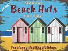 "Beach Huts Metal Sign by OMSC. $15.49. Ships in Ploy-bag for complete protection. Rounded corners with holes for easy hanging. Eco-friendly process, hand-made in the USA. This sign measures 9"" by 12"". Glossy, full-color, enamalized imaged baked onto thick, 24-gauge steel. This sign features art by Martin Wiscombe. Born and raised in Lyme Regis, Dorset, Martin studied illustration and design in the west country, then went on to spend more than 15 years working in Londo..."