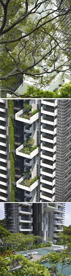 hoogbouw in de Brettenzone = groen op hoogte Newton Suites_Singapore by WOHA Architects (modern architecture elevation)