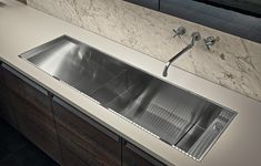 Varenna_Personalised flush built-in sink in steel Varenna by Barazza.