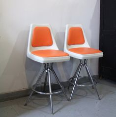 Vintage 1960s Mid Century Orange White Bar Stools