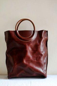 beautiful leather tote bag