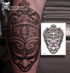 Aztec Warrior Tattoo Emperor design by WARVOX.COM
