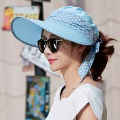 8459058849e Cheap Polka dot bow sun visor hat for women UV sun protection hats