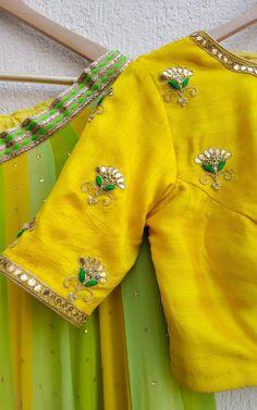Best 11 Lovely Gota Patti Blouse by Label Kanupriya Simple Blouse Designs, Stylish Blouse Design, Fancy Blouse Designs, Blouse Simple, Maggam Work Designs, Designer Blouse Patterns, Sleeve Designs, India, Couture