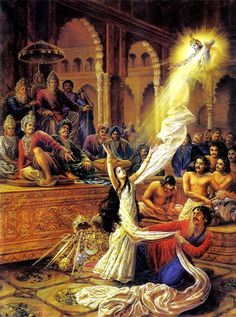 The Gambling Match. Krishna saves Draupadi's honor.