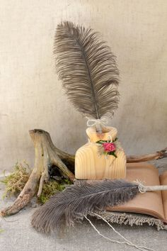 Rustic Wedding pen  Ostrich Feather pen Wedding by Indrasideas
