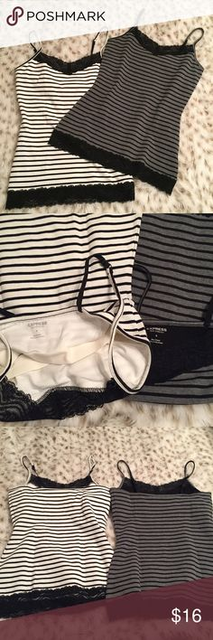 NWOT Express striped Lace tank top Two brand new never worn sexy stressed express striped Lace tank tops! Black and white striped. Gray and black striped! Both size small and never worn Express Tops Tank Tops