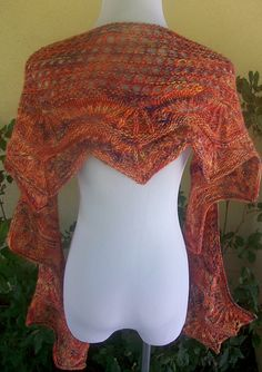 Banana Flambe Crescent Shaped Lace Shawlette or Scarf