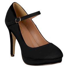 Women's Journee Collection Platform Mary Jane Pumps - Black 7.5