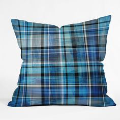 Madart Inc. Multi Blues Plaid Throw Pillow | DENY Designs Home Accessories