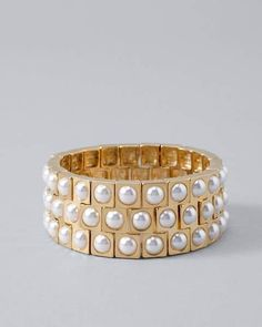 51d8fcb8f54 Shared via Stylicious: Faux Pearl Wide Stretch Bracelet https://api. shopstyle