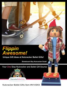 N14-SK8: 14 inch Nutcracker Boy on Skateboard. Unique Gift Idea!