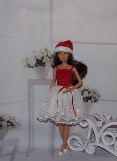 Christmas Holiday Miniature Mini Santa Claus Hat Barbie Ken Fashion Doll OOAK