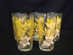 vintage yellow glass with yellow flowers