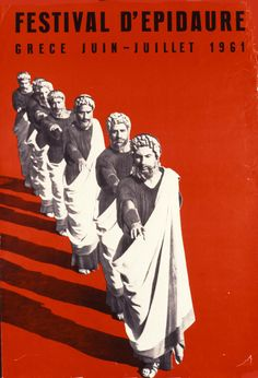 Epidavos Festival Original Greek Travel Poster 1962 M Katzourakis Old Posters, Illustrations And Posters, Retro Posters, Tourism Poster, Poster Ads, Greece Tourism, Greek Culture, Historical Monuments, Greek Art
