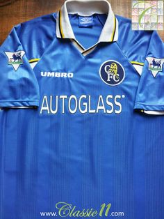 Relive Chelsea's Premier League season with this vintage Umbro home football shirt. Chelsea Football Shirt, Classic Football Shirts, School Football, Football Kits, Manchester United, Adidas, Chelsea Fc, Vintage Shirts, Ss16