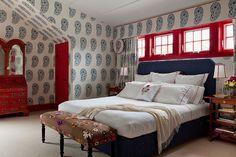 Robin-henry-studio-portfolio-interiors-modern-traditional-living-room | wallpaper | dormers | upholstered bed | red trim | windows | valance | drapery | bedroom | bedding | nightstands | bench | secretary