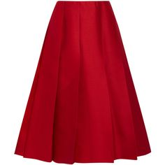 Nina Ricci - Pleated Wool And Silk-blend Twill Skirt (40.505 RUB) ❤ liked on Polyvore featuring skirts, claret, red wool skirt, nina ricci, knee length pleated skirt, pleated skirt and woolen skirt