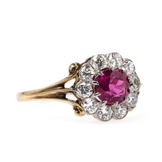 Spectacular Authentic Edwardian Era Engagement Ring with Natural Ruby Center | Lanseboro from Trumpet & Horn