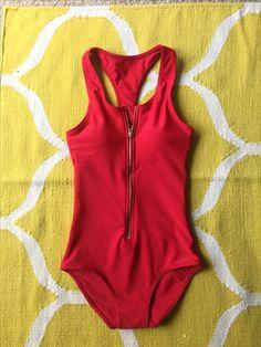 Baywatch Swimsuit! Red. Zipper. Sporty.