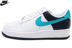 Mens Nike Air Force One Low 07 LE Shoes White Blue-Black 315122-176 14f2e3a16