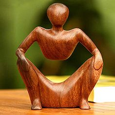 @Overstock.com - Wood 'Abstract Sitting' Sculpture (Indonesia) - A beautiful…