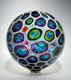 "Sphere:   ""Sphere"" series work by David Patchen.  Blown glass, murrine. (12 by 12 by 12)"