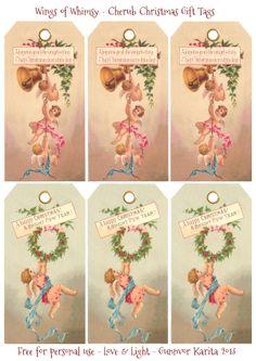 Ailes de fantaisie: Cherub Noël Tags - gratuitement pour un usage personnel #victorian #vintage #ephemera #printable