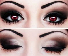 Twilight's Bella-style contacts and makeup. Love this.