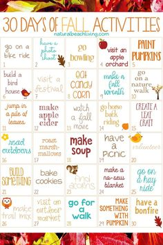 30 Days of Fall Activities for the Whole Family, Fall Activities for Kids, Fall . - 30 Days of Fall Activities for the Whole Family, Fall Activities for Kids, Fall … 30 Days of Fa - Herbst Bucket List, Autumn Activities For Kids, Autumn Crafts For Adults, Christmas Activities For Adults, Fall Preschool, Preschool Themes, Free Activities, Family Activities With Toddlers, Harvest Activities