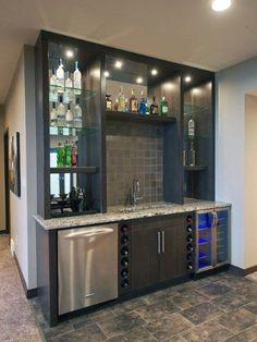 65 Best and Cool Home Bar Design Confused to make a bar room? On the topic of design for our favorite home is to discuss the design of the bar room that will be in our home. Small Basement Bars, Wet Bar Basement, Basement Bar Designs, Basement Ideas, Rustic Basement, Modern Basement, Industrial Basement, Basement Kitchen, Bar Kitchen