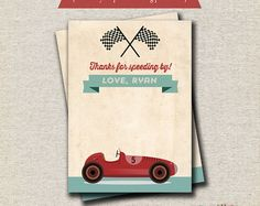 Retro Race Car Invitation Vintage Race Car by designingforpeanuts